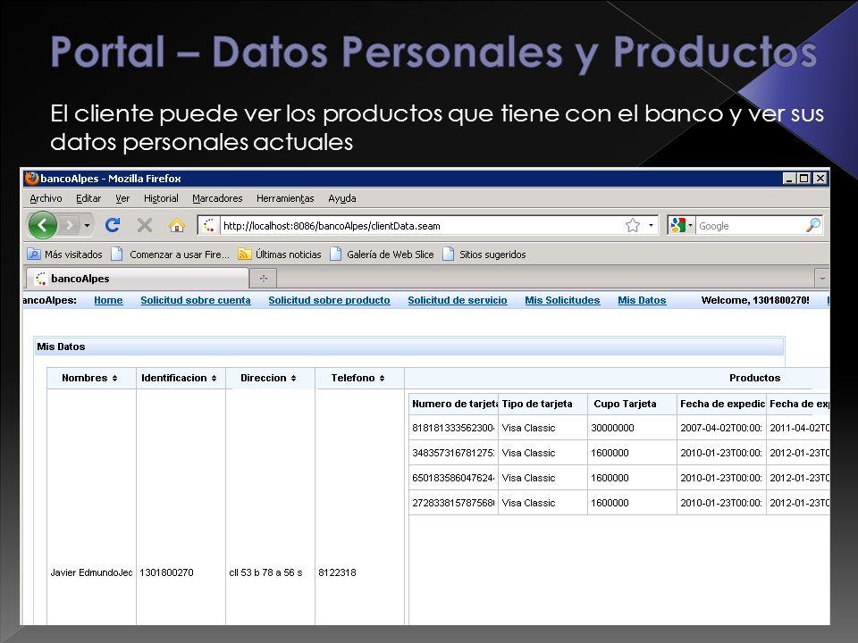El cliente puede ver los productos que tiene con el banco y ver sus datos personales actuales