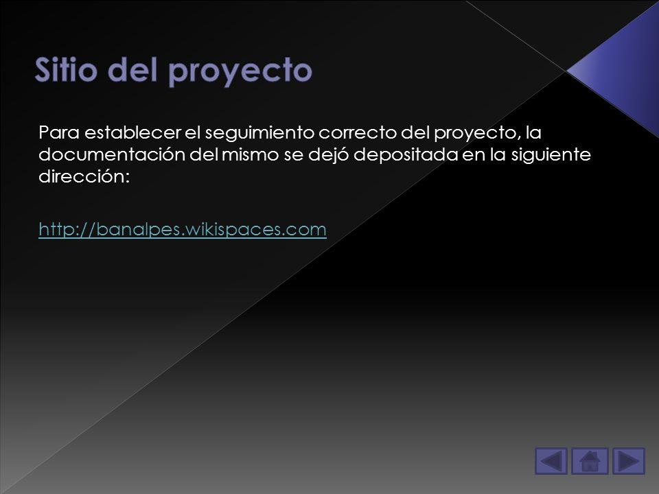 Para establecer el seguimiento correcto del proyecto, la documentación del mismo se dejó depositada en la siguiente dirección: http://banalpes.wikispaces.com