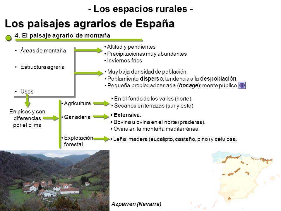 Los paisajes agrarios de España - Los espacios rurales - Áreas de montaña Estructura agraria Usos Áreas de montaña Estructura agraria Usos 4. El paisa