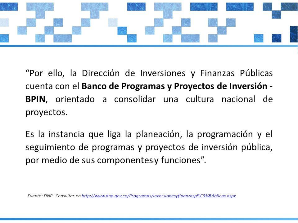 Por ello, la Dirección de Inversiones y Finanzas Públicas cuenta con el Banco de Programas y Proyectos de Inversión - BPIN, orientado a consolidar una