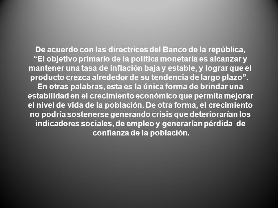 De acuerdo con las directrices del Banco de la república, El objetivo primario de la política monetaria es alcanzar y mantener una tasa de inflación b