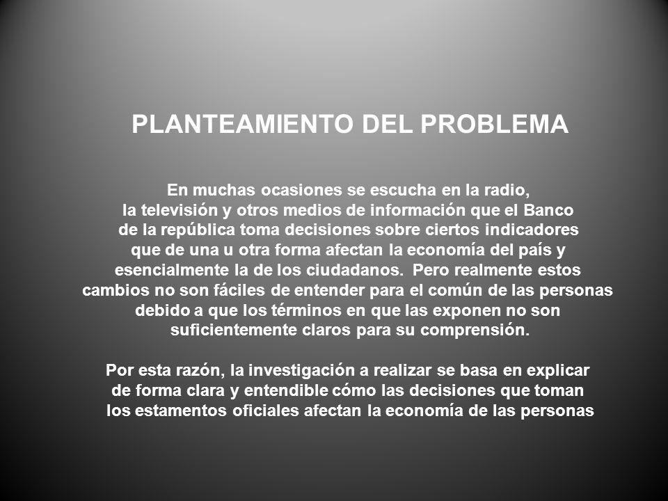 PLANTEAMIENTO DEL PROBLEMA En muchas ocasiones se escucha en la radio, la televisión y otros medios de información que el Banco de la república toma d