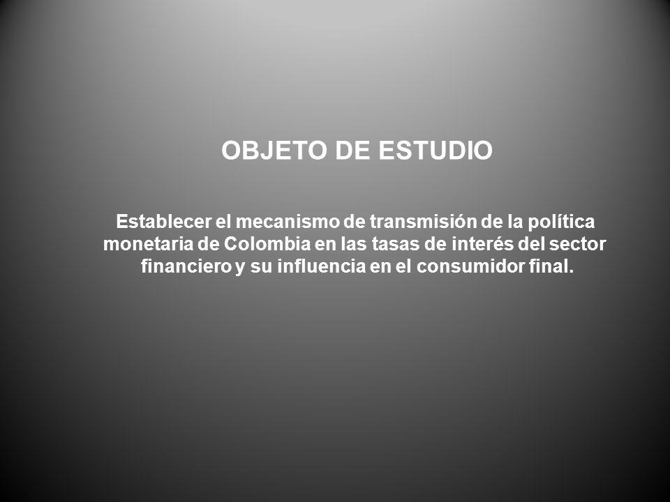 OBJETO DE ESTUDIO Establecer el mecanismo de transmisión de la política monetaria de Colombia en las tasas de interés del sector financiero y su influencia en el consumidor final.