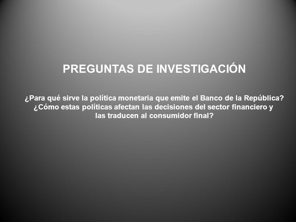PREGUNTAS DE INVESTIGACIÓN ¿Para qué sirve la política monetaria que emite el Banco de la República.
