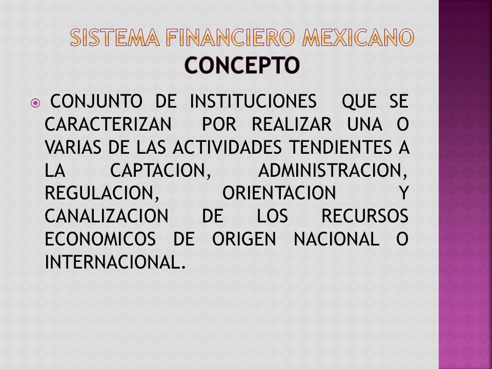 CONJUNTO DE INSTITUCIONES QUE SE CARACTERIZAN POR REALIZAR UNA O VARIAS DE LAS ACTIVIDADES TENDIENTES A LA CAPTACION, ADMINISTRACION, REGULACION, ORIENTACION Y CANALIZACION DE LOS RECURSOS ECONOMICOS DE ORIGEN NACIONAL O INTERNACIONAL.