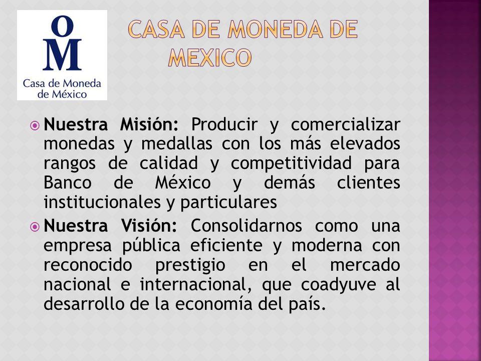 Nuestra Misión: Producir y comercializar monedas y medallas con los más elevados rangos de calidad y competitividad para Banco de México y demás clientes institucionales y particulares Nuestra Visión: Consolidarnos como una empresa pública eficiente y moderna con reconocido prestigio en el mercado nacional e internacional, que coadyuve al desarrollo de la economía del país.