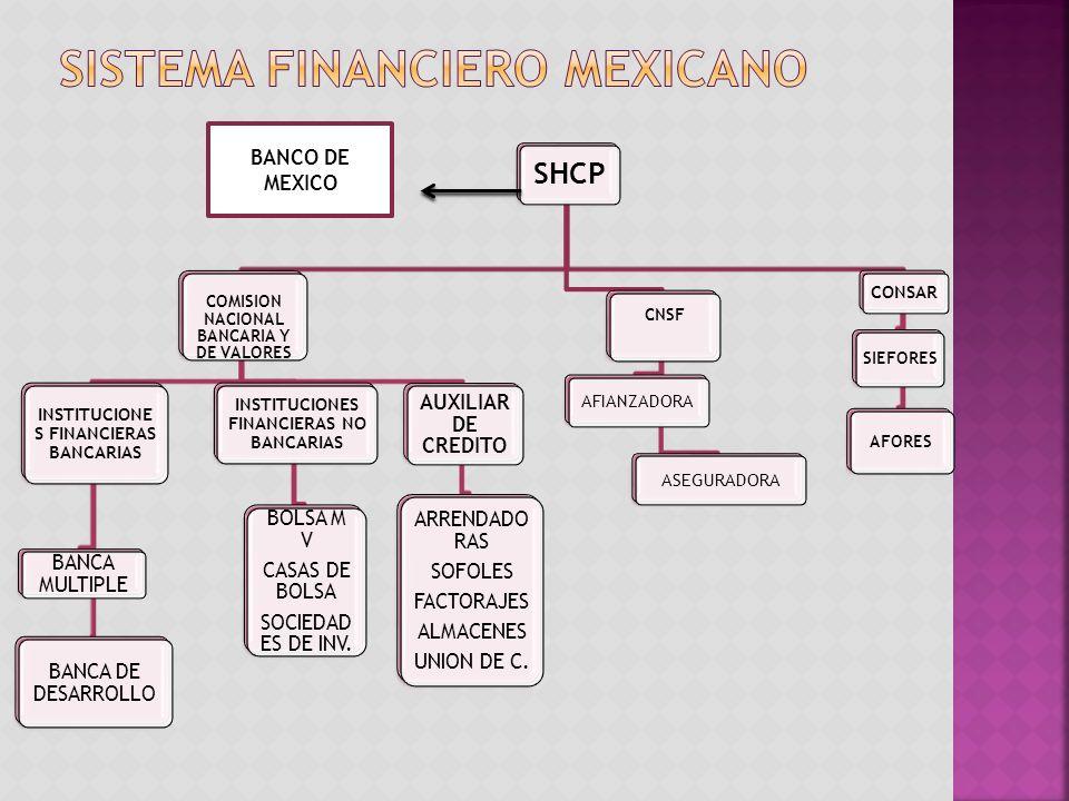 SHCP COMISION NACIONAL BANCARIA Y DE VALORES INSTITUCIONE S FINANCIERAS BANCARIAS BANCA MULTIPLE BANCA DE DESARROLLO INSTITUCIONES FINANCIERAS NO BANCARIAS BOLSA M V CASAS DE BOLSA SOCIEDAD ES DE INV.