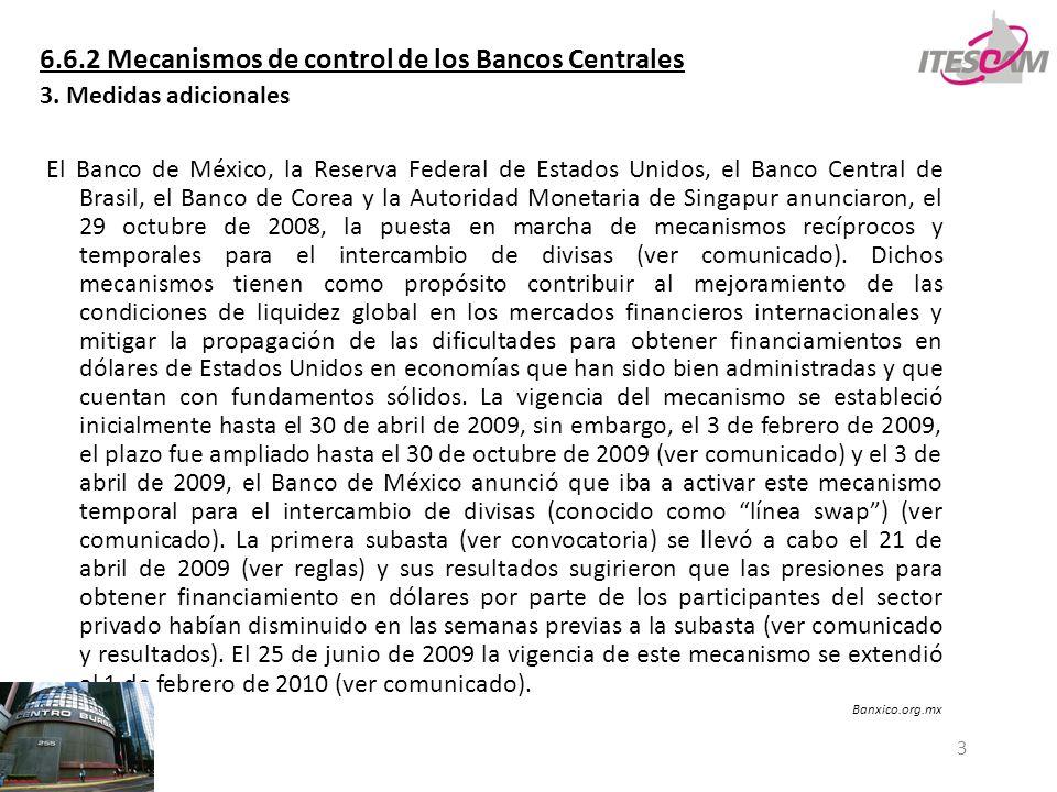 3 6.6.2 Mecanismos de control de los Bancos Centrales 3. Medidas adicionales El Banco de México, la Reserva Federal de Estados Unidos, el Banco Centra