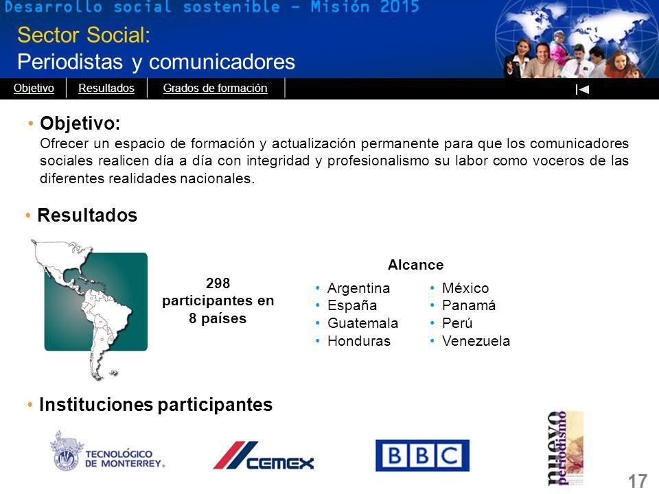 17 Sector Social: Periodistas y comunicadores Objetivo: Ofrecer un espacio de formación y actualización permanente para que los comunicadores sociales