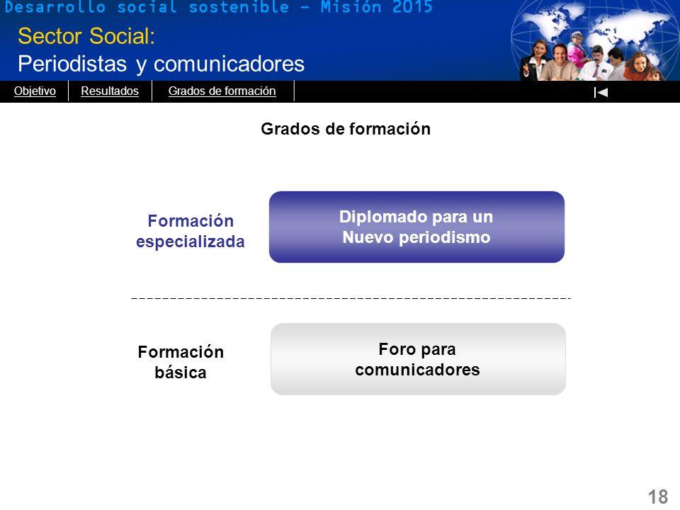18 Sector Social: Periodistas y comunicadores Formación especializada Diplomado para un Nuevo periodismo Formación básica Foro para comunicadores Grad
