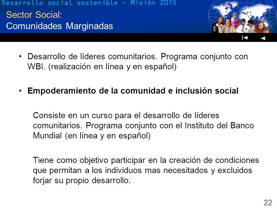 22 Sector Social: Comunidades Marginadas Desarrollo de líderes comunitarios. Programa conjunto con WBI. (realización en línea y en español) Empoderami