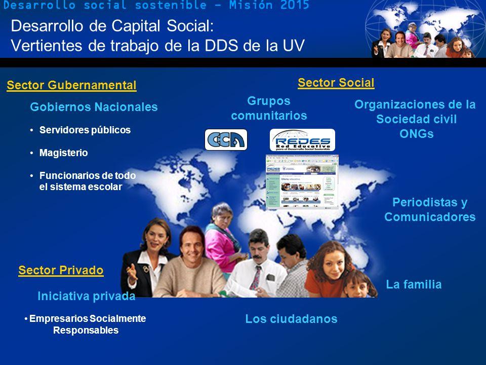 4 Desarrollo de Capital Social: Vertientes de trabajo de la DDS de la UV Servidores públicos Magisterio Funcionarios de todo el sistema escolar Gobier