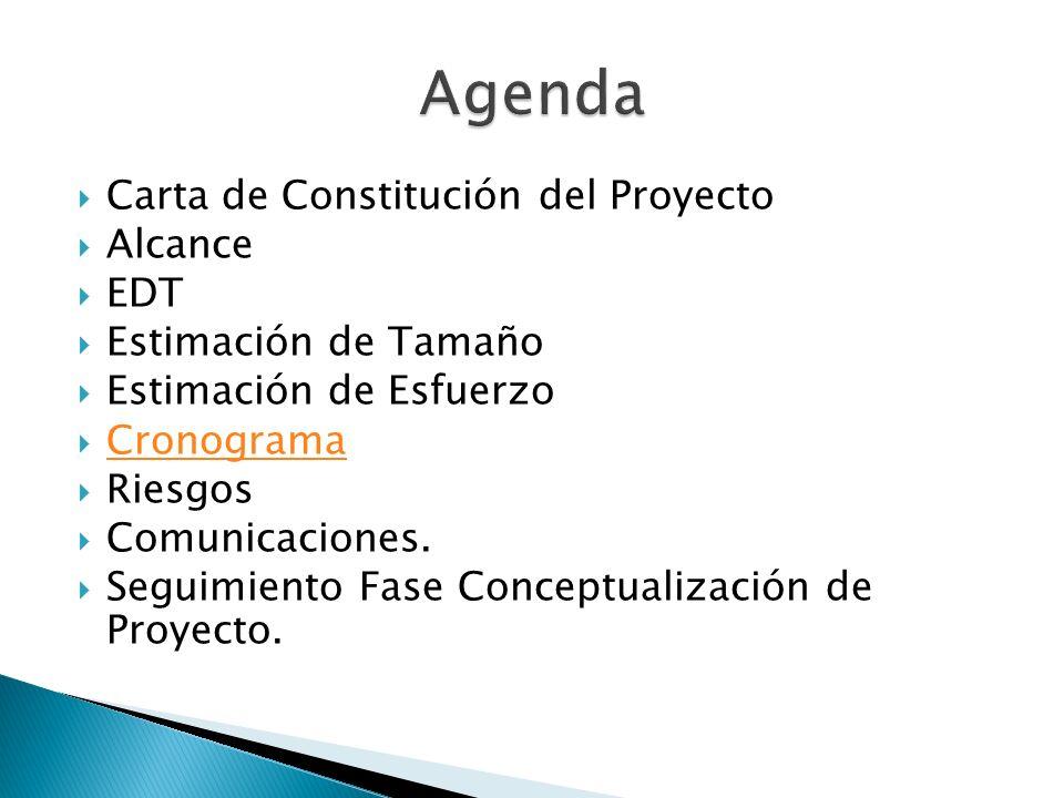 Carta de Constitución del Proyecto Alcance EDT Estimación de Tamaño Estimación de Esfuerzo Cronograma Riesgos Comunicaciones. Seguimiento Fase Concept