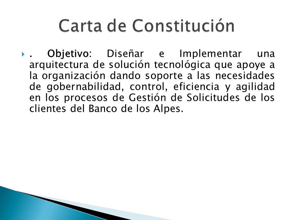 . Objetivo: Diseñar e Implementar una arquitectura de solución tecnológica que apoye a la organización dando soporte a las necesidades de gobernabilid