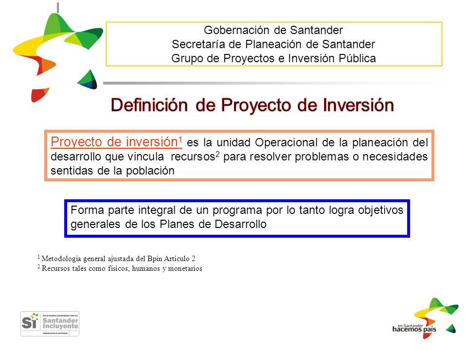 Gobernación de Santander Secretaría de Planeación de Santander Grupo de Proyectos e Inversión Pública 1 Metodología general ajustada del Bpin Articulo