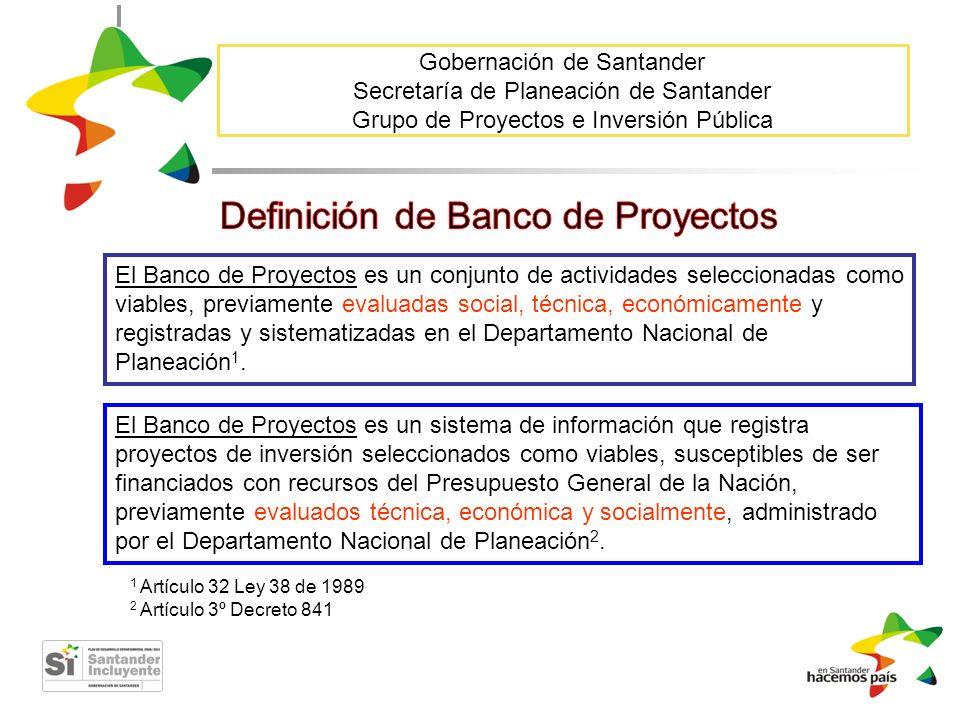 Gobernación de Santander Secretaría de Planeación de Santander Grupo de Proyectos e Inversión Pública El Banco de Proyectos es un conjunto de activida