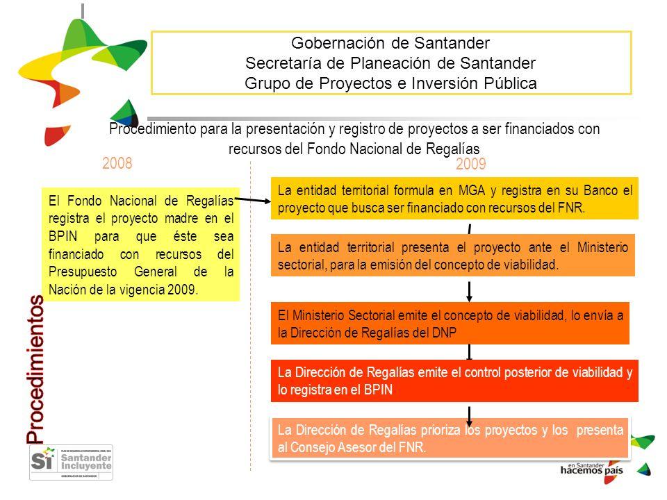 Gobernación de Santander Secretaría de Planeación de Santander Grupo de Proyectos e Inversión Pública 2008 El Fondo Nacional de Regalías registra el p
