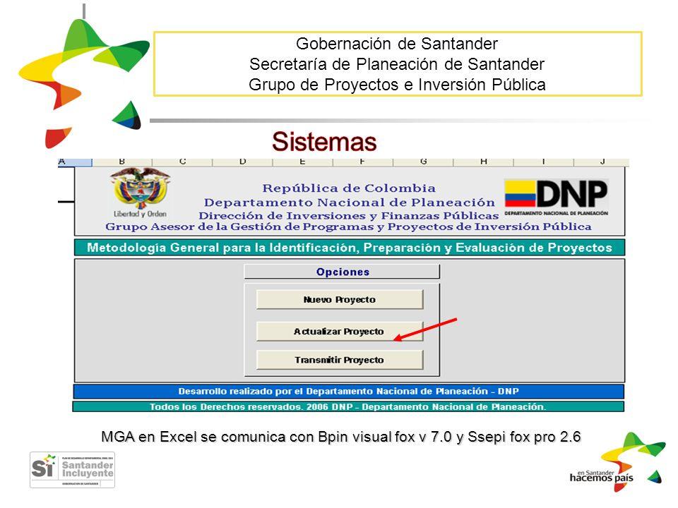 Gobernación de Santander Secretaría de Planeación de Santander Grupo de Proyectos e Inversión Pública MGA en Excel se comunica con Bpin visual fox v 7