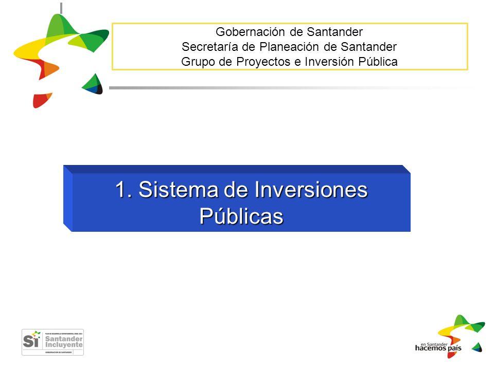 Gobernación de Santander Secretaría de Planeación de Santander Grupo de Proyectos e Inversión Pública 1. Sistema de Inversiones Públicas