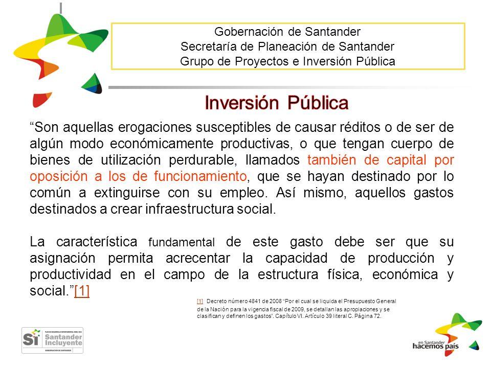 Gobernación de Santander Secretaría de Planeación de Santander Grupo de Proyectos e Inversión Pública Son aquellas erogaciones susceptibles de causar