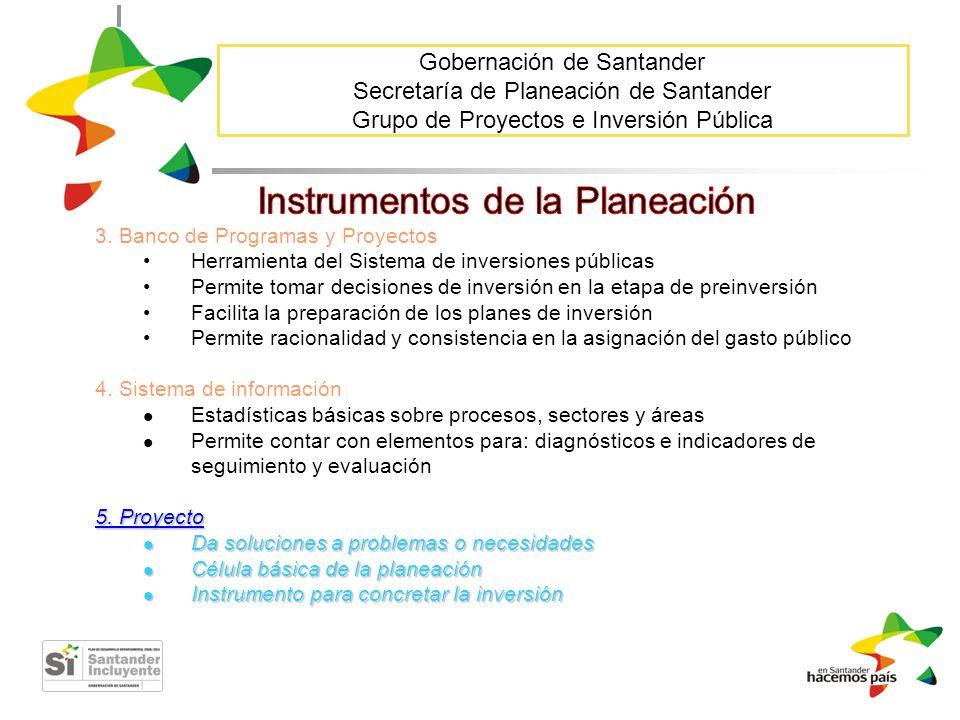 Gobernación de Santander Secretaría de Planeación de Santander Grupo de Proyectos e Inversión Pública 3. Banco de Programas y Proyectos Herramienta de