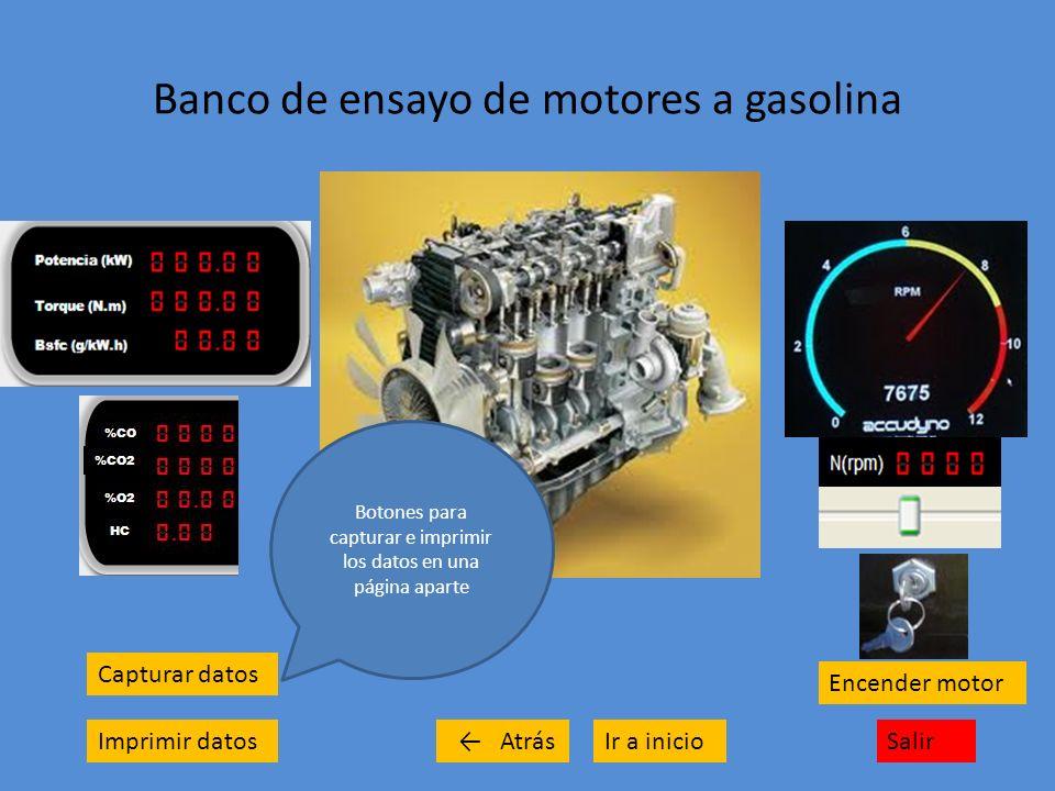 Banco de ensayo de motores a gasolina Capturar datos Imprimir datosSalirIr a inicio Encender motor Atrás Botones para capturar e imprimir los datos en