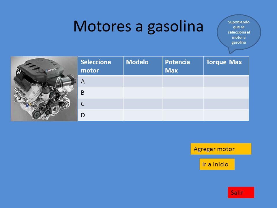 Motores a gasolina Seleccione motor ModeloPotencia Max Torque Max A B C D Ir a inicio Salir Suponiendo que se selecciona el motor a gasolina Agregar m