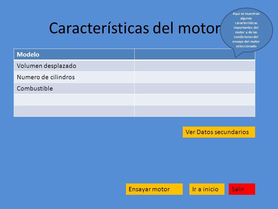 Características del motor Ensayar motor Modelo Volumen desplazado Numero de cilindros Combustible Salir Aquí se muestran algunas características impor