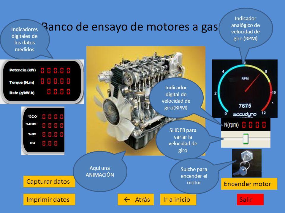 Banco de ensayo de motores a gasolina Capturar datos Imprimir datosSalirIr a inicio Encender motor Indicadores digitales de los datos medidos Atrás Aq