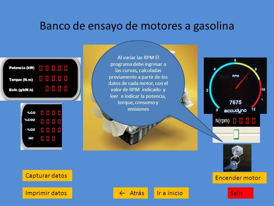 Banco de ensayo de motores a gasolina Capturar datos Imprimir datosSalirIr a inicio Encender motor Atrás Al variar las RPM El programa debe ingresar a