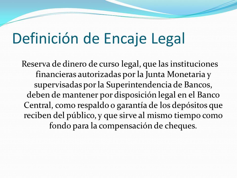 Definición de Encaje Legal Reserva de dinero de curso legal, que las instituciones financieras autorizadas por la Junta Monetaria y supervisadas por l