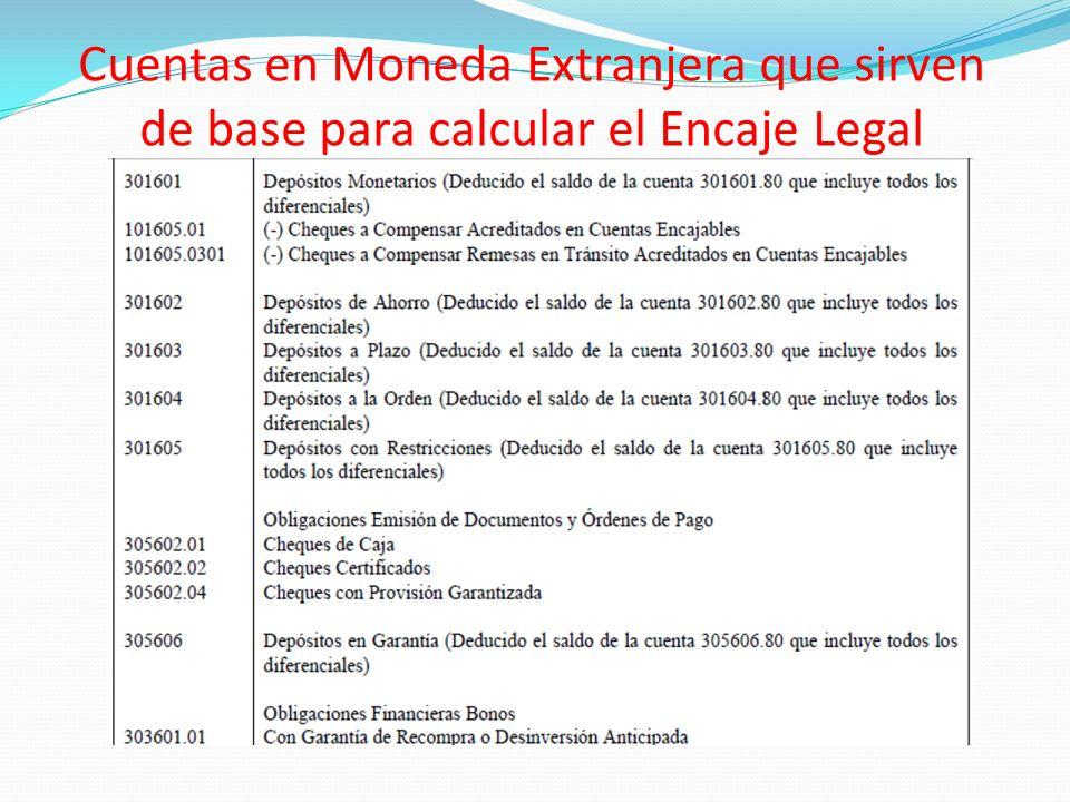 Cuentas en Moneda Extranjera que sirven de base para calcular el Encaje Legal