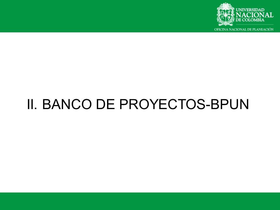 II. BANCO DE PROYECTOS-BPUN