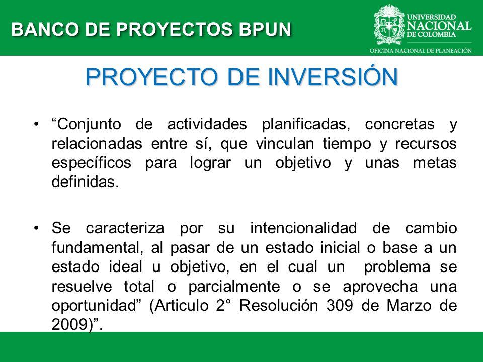 PROYECTO DE INVERSIÓN Conjunto de actividades planificadas, concretas y relacionadas entre sí, que vinculan tiempo y recursos específicos para lograr