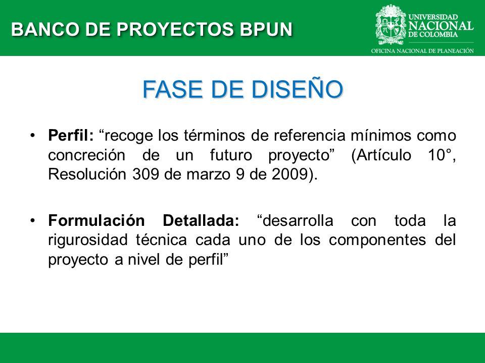 FASE DE DISEÑO BANCO DE PROYECTOS BPUN Perfil: recoge los términos de referencia mínimos como concreción de un futuro proyecto (Artículo 10°, Resoluci