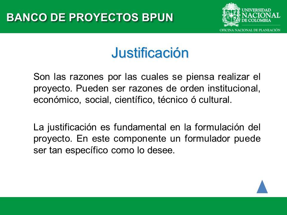 Justificación Son las razones por las cuales se piensa realizar el proyecto. Pueden ser razones de orden institucional, económico, social, científico,