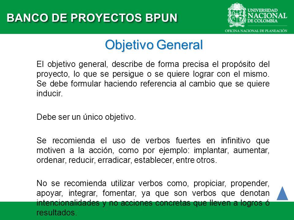 Objetivo General El objetivo general, describe de forma precisa el propósito del proyecto, lo que se persigue o se quiere lograr con el mismo. Se debe