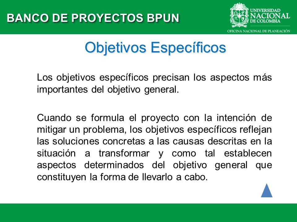 Objetivos Específicos Los objetivos específicos precisan los aspectos más importantes del objetivo general. Cuando se formula el proyecto con la inten