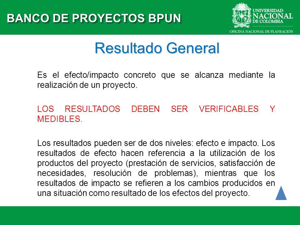 Resultado General Es el efecto/impacto concreto que se alcanza mediante la realización de un proyecto. LOS RESULTADOS DEBEN SER VERIFICABLES Y MEDIBLE
