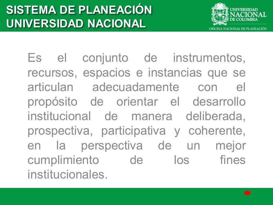 Es el conjunto de instrumentos, recursos, espacios e instancias que se articulan adecuadamente con el propósito de orientar el desarrollo instituciona