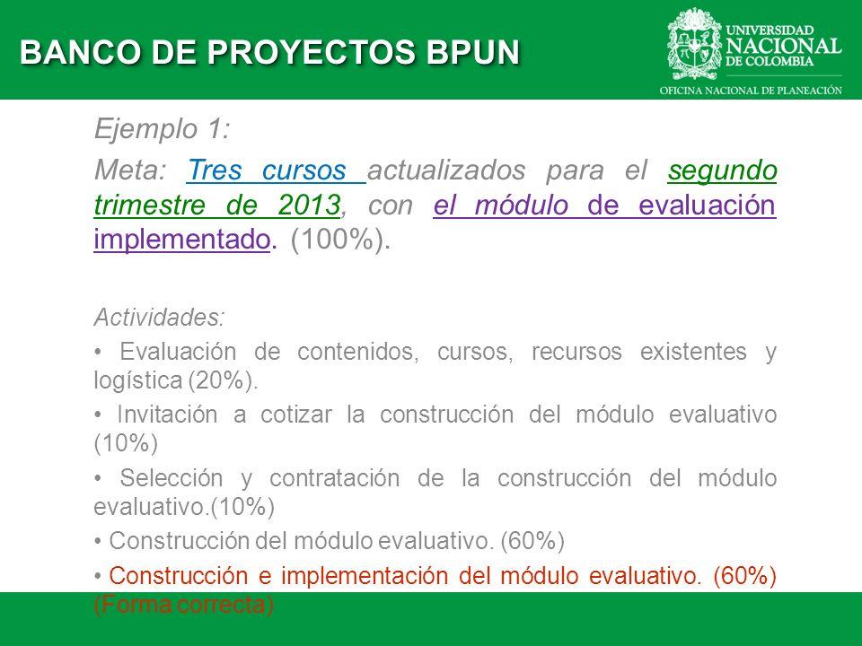 Ejemplo 1: Meta: Tres cursos actualizados para el segundo trimestre de 2013, con el módulo de evaluación implementado. (100%). Actividades: Evaluación