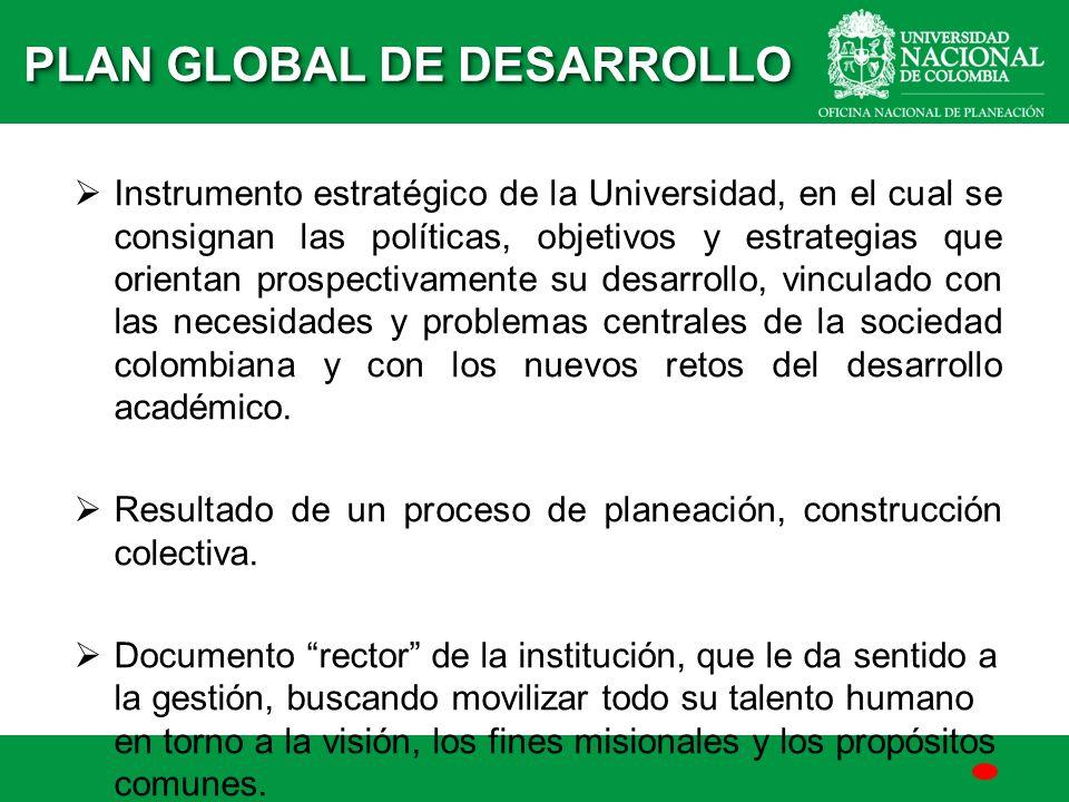Instrumento estratégico de la Universidad, en el cual se consignan las políticas, objetivos y estrategias que orientan prospectivamente su desarrollo,