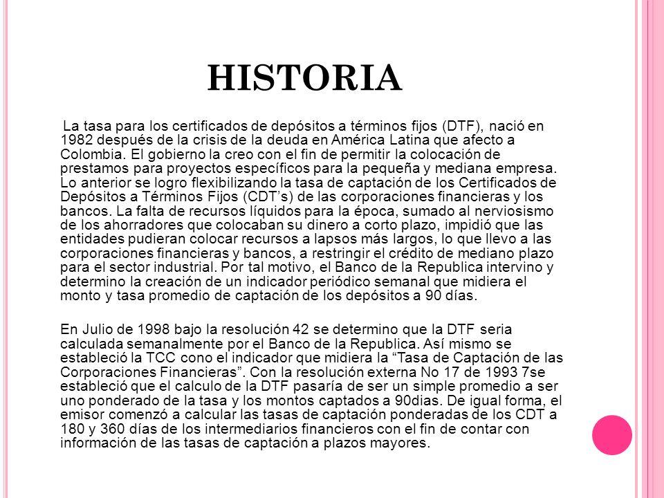 HISTORIA La tasa para los certificados de depósitos a términos fijos (DTF), nació en 1982 después de la crisis de la deuda en América Latina que afect