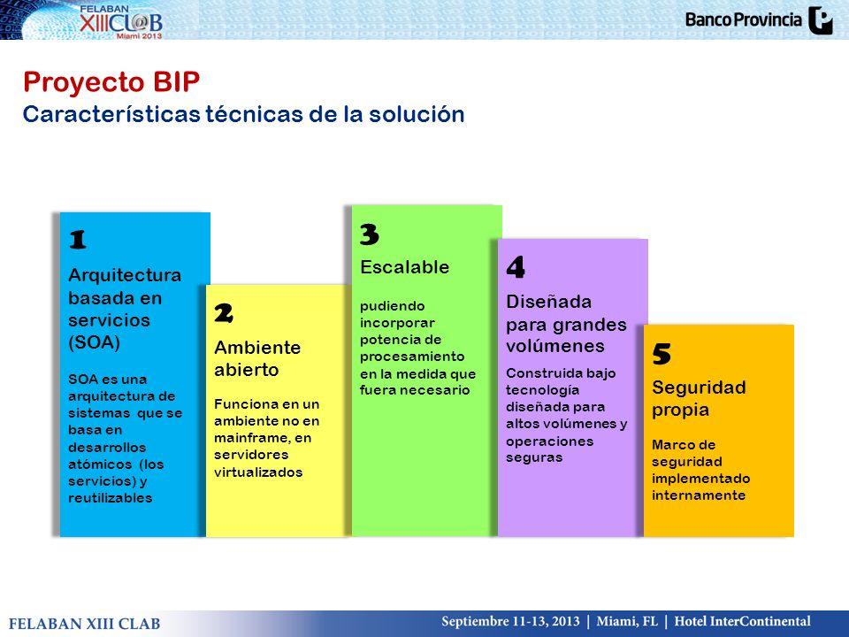 Proyecto BIP Características técnicas de la solución Arquitectura basada en servicios (SOA) SOA es una arquitectura de sistemas que se basa en desarro