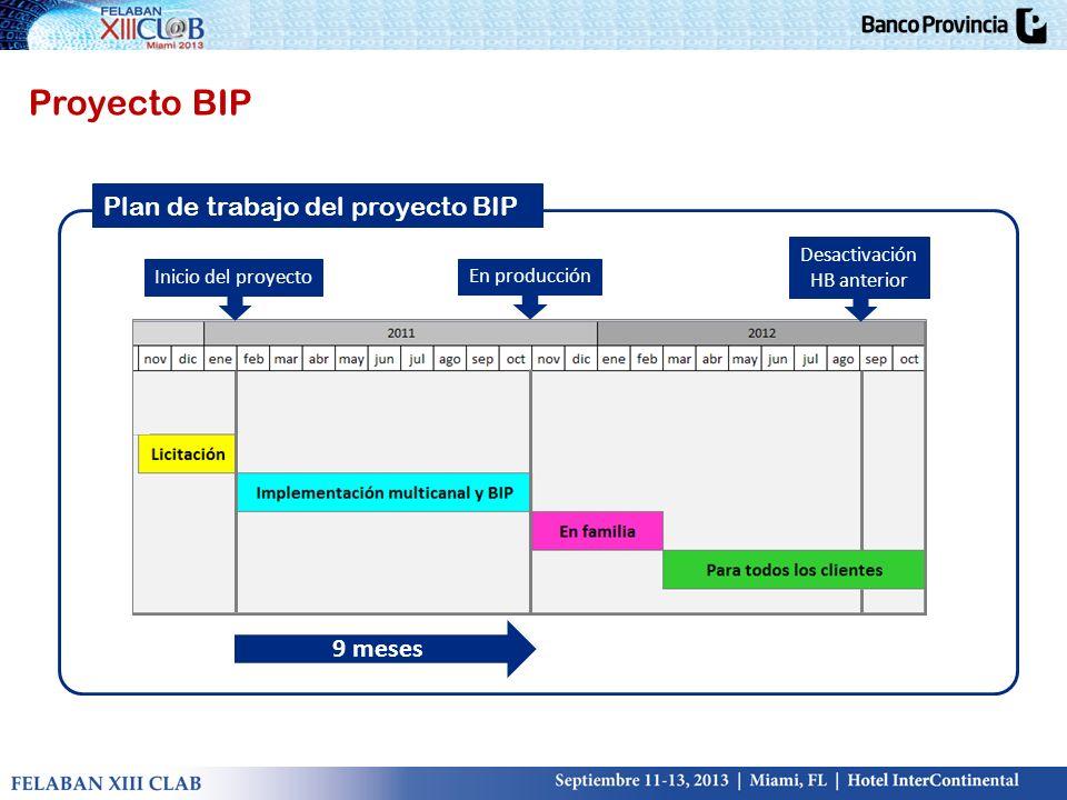 9 meses Inicio del proyecto En producción Desactivación HB anterior Plan de trabajo del proyecto BIP Proyecto BIP