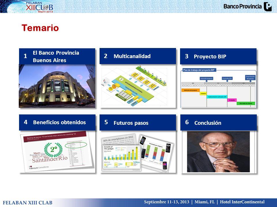 Temario 2 Multicanalidad 3 Proyecto BIP 4 Beneficios obtenidos 5 Futuros pasos 6 Conclusión 1 El Banco Provincia Buenos Aires
