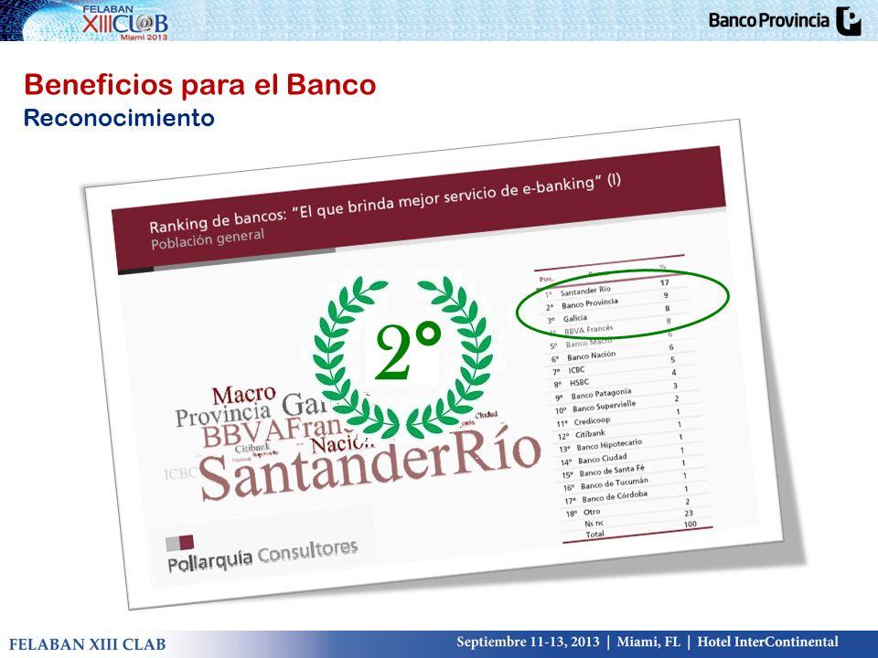 Beneficios para el Banco Reconocimiento 2°
