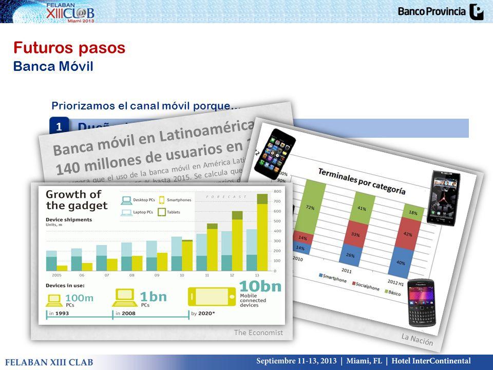 Futuros pasos Banca Móvil Priorizamos el canal móvil porque… Dueño de los canales estratégicos 1 1 Banca móvil en Latinoamérica: 140 millones de usuar