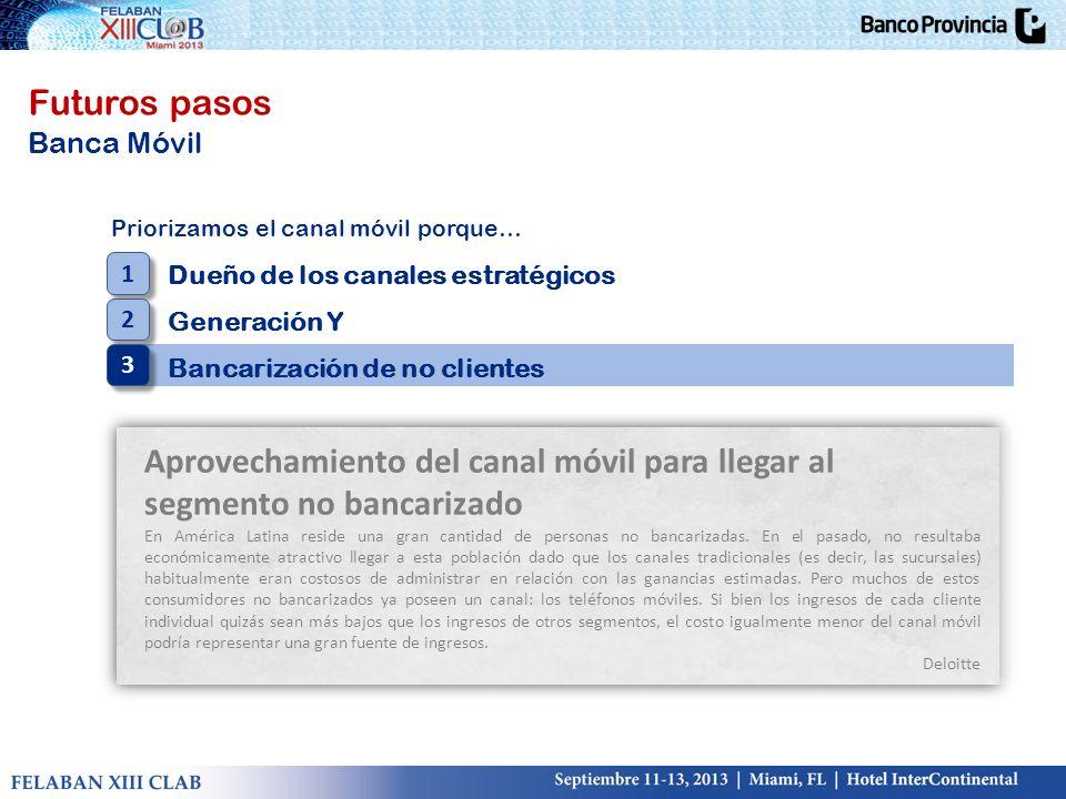 Futuros pasos Banca Móvil Priorizamos el canal móvil porque… Dueño de los canales estratégicos Generación Y Bancarización de no clientes 1 1 2 2 3 3 A
