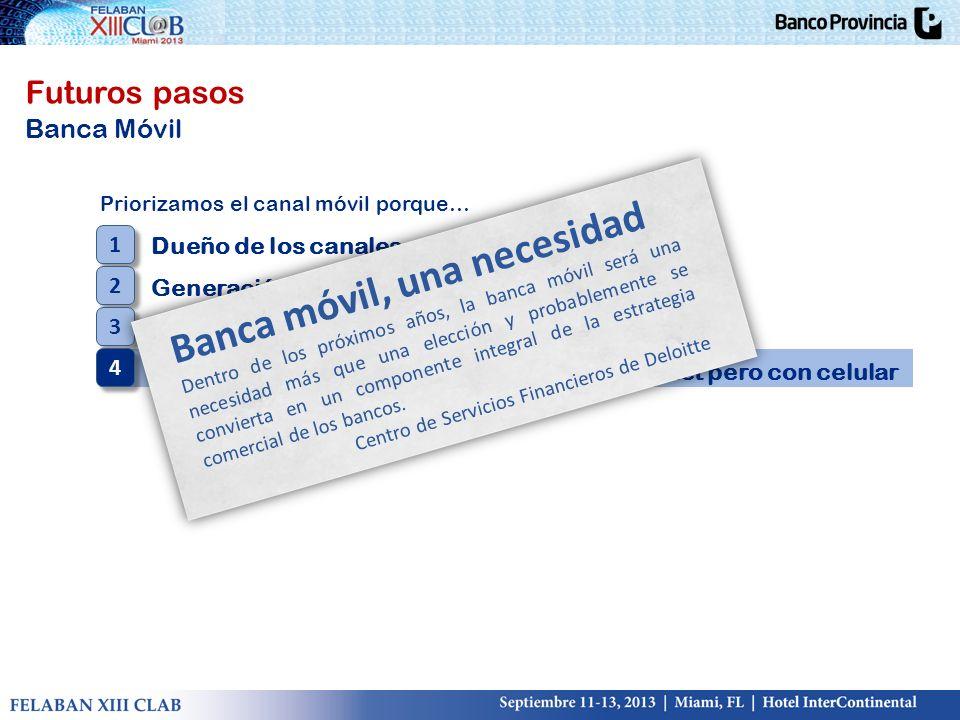 Futuros pasos Banca Móvil Priorizamos el canal móvil porque… Dueño de los canales estratégicos Generación Y Bancarización de no clientes Banco social,